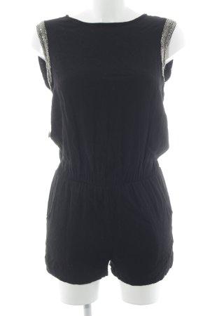 Jumpsuit schwarz-goldfarben Perlenverzierung