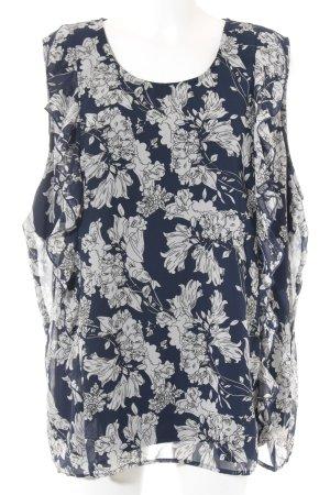 Junarose ärmellose Bluse dunkelblau-wollweiß Blumenmuster