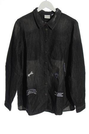 Junarose Chemise en jean noir-blanc moucheté style décontracté