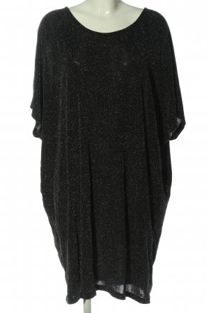 Junarose Kurzarmkleid schwarz-silberfarben abstraktes Muster Casual-Look