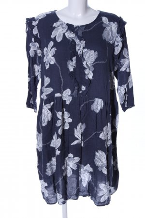 Junarose Minikleid blau-weiß Blumenmuster Casual-Look