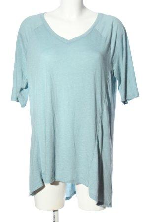 Junarose V-Ausschnitt-Shirt blau meliert Casual-Look