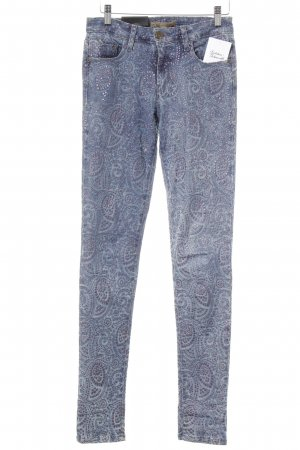 Just blue Skinny Jeans blau-hellrot abstraktes Muster Casual-Look