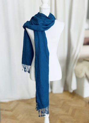 Just Cashmere Jedwabna chusta niebieski Jedwab
