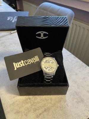 Just cavalli Zegarek z metalowym paskiem srebrny
