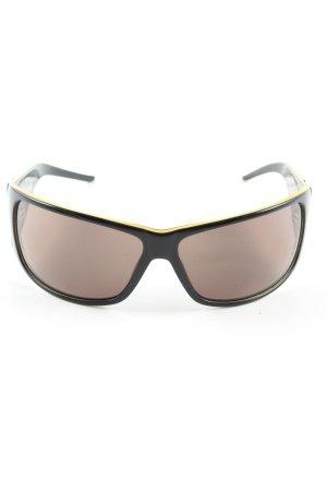 Just cavalli eckige Sonnenbrille schwarz-blassgelb Schriftzug gedruckt