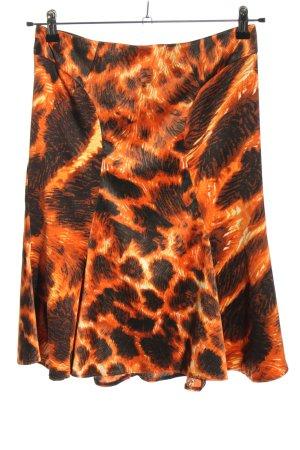 Just cavalli Jupe évasée orange clair-noir motif abstrait style décontracté