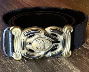 Just cavalli Cinturón de cuero negro-color oro