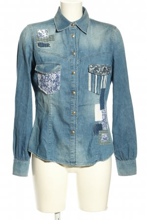 Just cavalli Jeansbluse blau Mustermix Casual-Look