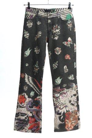 Just cavalli Jeansowe spodnie dzwony Abstrakcyjny wzór W stylu casual