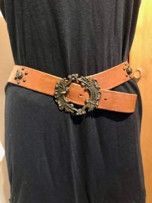 Just cavalli Leather Belt light brown-gold-colored leather