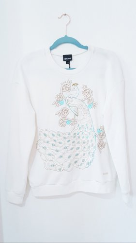 Just Cavalli Peacock Print Embroidered Sweatshirt