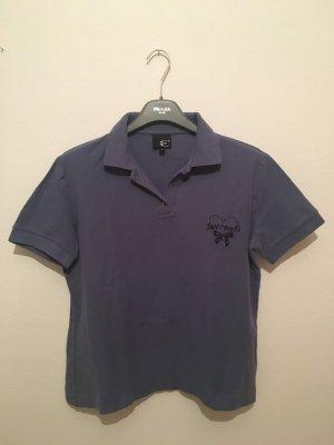 Just cavalli Roberto large Polo Piqué blau rauchblau graublau Schleife Schriftzug Shirt Oberteil Luxus Designer