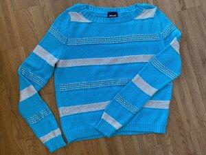 Just cavalli Pull tricoté argenté-turquoise