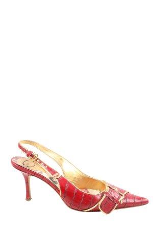 Just cavalli Slingback pumps rood-goud dierenprint elegant