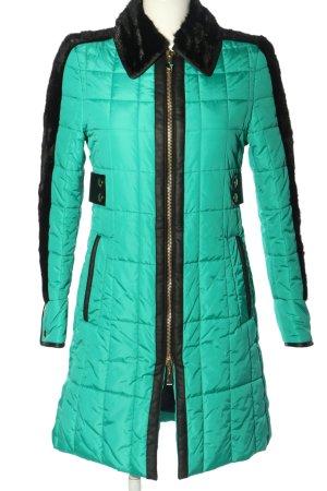 Just cavalli Pikowany płaszcz turkusowy-czarny Pikowany wzór W stylu casual