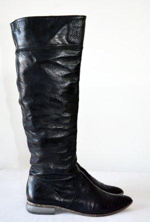 Just Cavalli Stiefel Leder Schwarz overknee Logo Nieten 40
