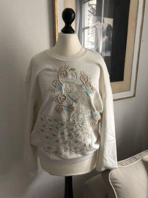Just cavalli Bluza dresowa w kolorze białej wełny
