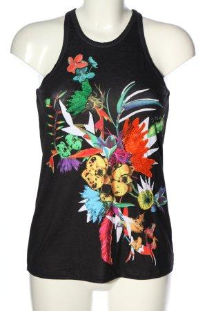 Just cavalli Débardeur noir motif de fleur style décontracté