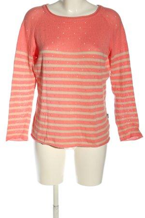 Just Cruzizin Rundhalspullover pink-wollweiß Streifenmuster Casual-Look