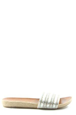 Just Fab Komfort-Sandalen weiß-hellgrau Streifenmuster Casual-Look