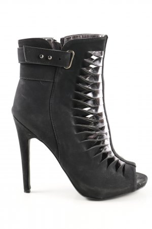 Just Fab Peep Toe Booties black-silver-colored extravagant style