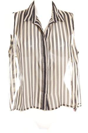 Just Female ärmellose Bluse schwarz-hellbeige Streifenmuster klassischer Stil
