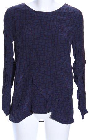 Just Female Langarm-Bluse blau-schwarz grafisches Muster Business-Look