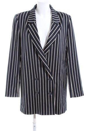Just Female Blazer lungo nero-bianco motivo a righe stile professionale
