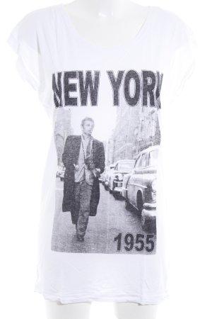 Just Female Print-Shirt weiß-schwarz Casual-Look