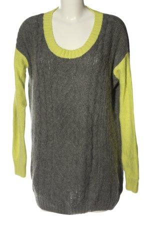 Just Female Abito maglione grigio chiaro-giallo pallido punto treccia