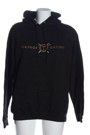 Just Hoods Kapuzensweatshirt schwarz Schriftzug gedruckt Casual-Look