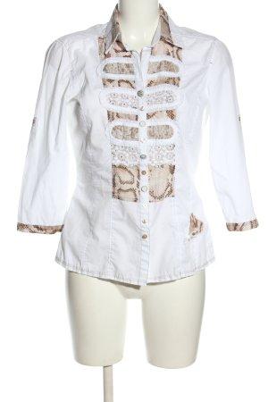 Just White Hemd-Bluse abstraktes Muster Elegant