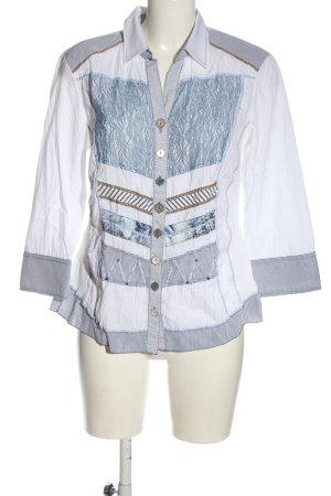 Just White Hemd-Bluse weiß-blau Streifenmuster Elegant