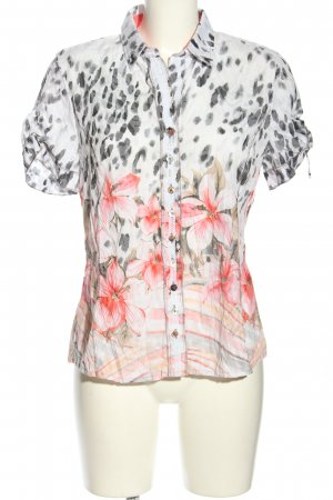 Just White Kurzarm-Bluse abstraktes Muster Casual-Look