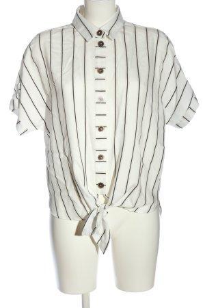 Just White Shirt met korte mouwen wit-zwart gestreept patroon casual uitstraling