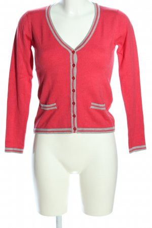 Just Woman Strickjacke rot-hellgrau Casual-Look