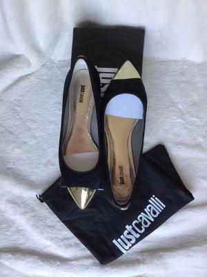 Just cavalli Ballerina's met kant zwart-goud
