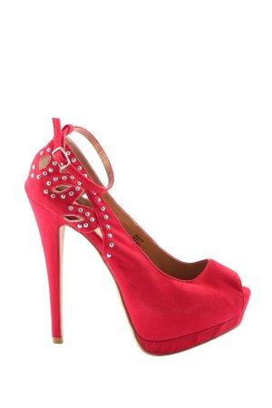 JustFab High Heel Sandaletten rot Casual-Look