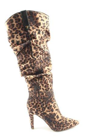JustFab High Heel Stiefel creme-braun Leomuster Casual-Look