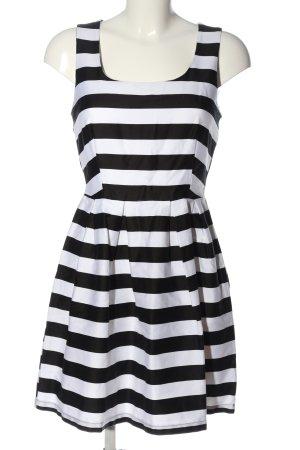JustFab Minikleid weiß-schwarz Streifenmuster Casual-Look