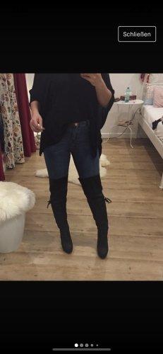 JustFab Overknees Black Leder Optik