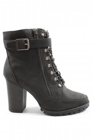 JustFab Lace-up Booties black casual look