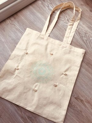 Canvas Bag beige-turquoise