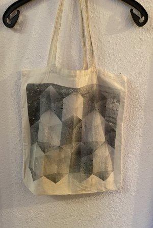 Jutebeutel Tasche Monki Grafik 3D Print Schwarz Weiß Beige Muster Raute Tasche Beutel