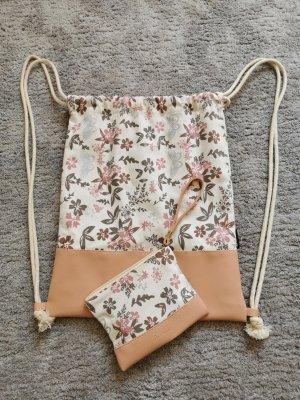 Bolsa de arpillera blanco-rosa