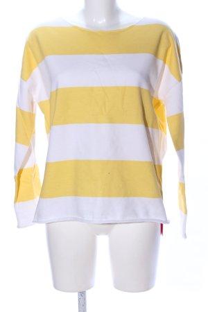 Juvia Rundhalspullover blassgelb-weiß Streifenmuster Casual-Look
