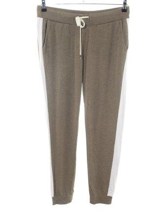 Juvia Pantalon de jogging brun-blanc imprimé allover style décontracté