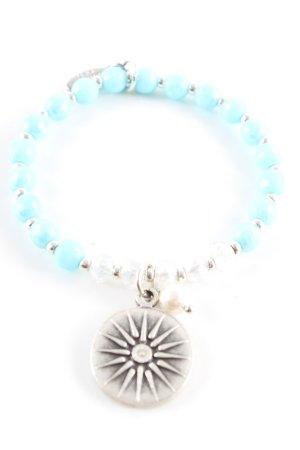 Juwelenkind Bracelet en perles turquoise-argenté style décontracté