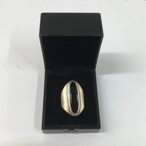 Juwelier XL Cocktail/ Statement Ring massiv 925  silbern mit schwarzem Edelstein Onyx Designer